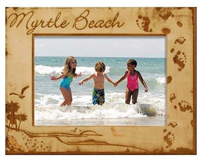 Myrtle Beach South Carolina Footprints Laser Engraved Wood Picture Frame (5 x 7)