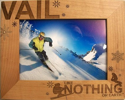 Vail Colorado Laser Engraved Wood Picture Frame (5 x 7)
