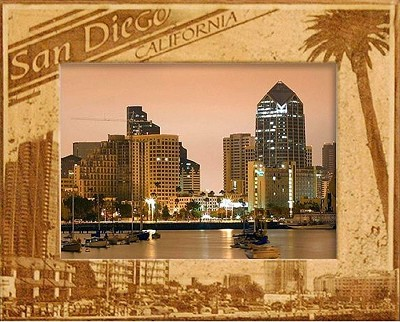 San Diego California with Palm Tree Laser Engraved Wood Picture Frame (5 x 7)