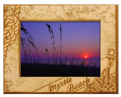 Myrtle Beach with Anchor Laser Engraved Wood Picture Frame (5 x 7)