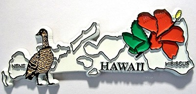 Hawaii State Outline with Nene and Flowers Fridge Magnet Design 1