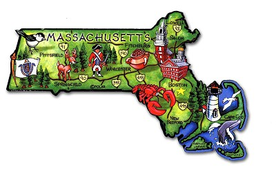 Massachusetts State Outline Artwood Jumbo Magnet