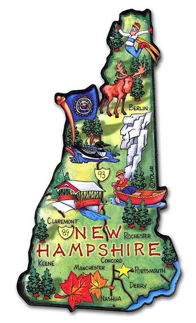 New Hampshire State Outline Artwood Jumbo Fridge Magnet