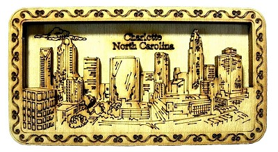 Charlotte North Carolina Laser Engraved Artwood Fridge Magnet