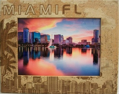 Miami Florida Laser Engraved Wood Picture Frame (5 x 7)