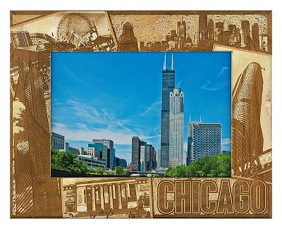 Chicago Illinois Laser Engraved Wood Picture Frame (5 x 7)