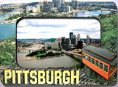 Pittsburgh Pennsylvania with Duquesne Incline 4 x 6 Picture Frame Fridge Magnet Design 25