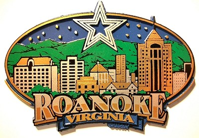 Roanoke Virginia Oval Skyline Fridge Magnet Design 27