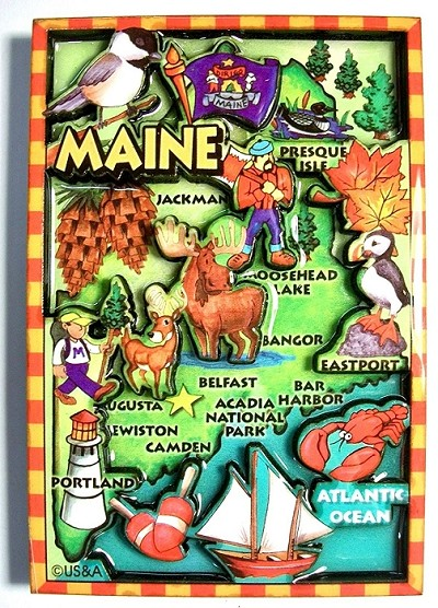 Maine Cartoon Map Fridge Magnet Design 27