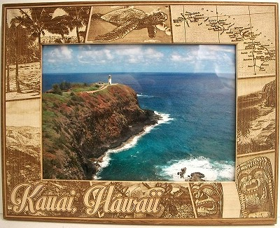 Kauai Hawaii Montage Laser Engraved Wood Picture Frame (5 x 7)