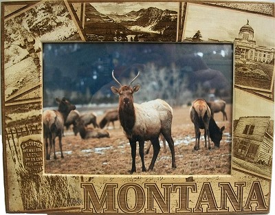 Montana Montage Laser Engraved Wood Picture Frame (5 x 7)