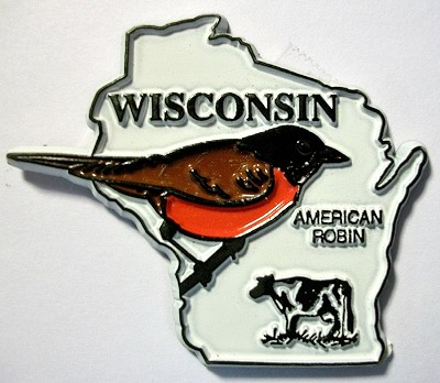 Wisconsin State Outline with American Robin Fridge Magnet Design 1