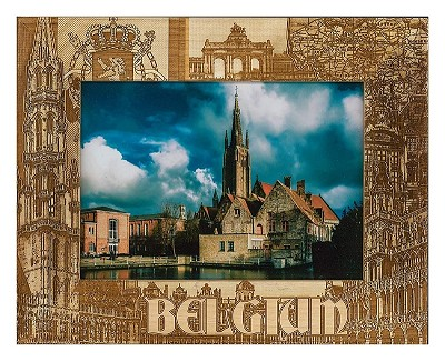 Belgium Laser Engraved Wood Picture Frame (5 x 7)