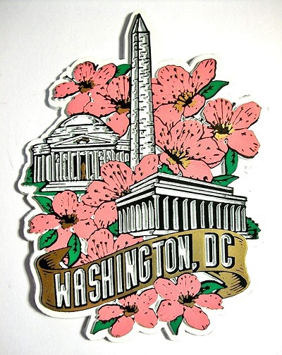 Washington D.C. Monuments with Cherry Blossoms Fridge Magnet Design 27
