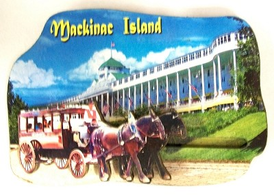 Mackinac Island with Movable Horse Carriage Artwood Fridge Magnet