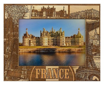 France Laser Engraved Wood Picture Frame (5 x 7)