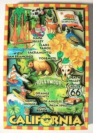 California Map Cartoon.California Cartoon Map Fridge Magnet