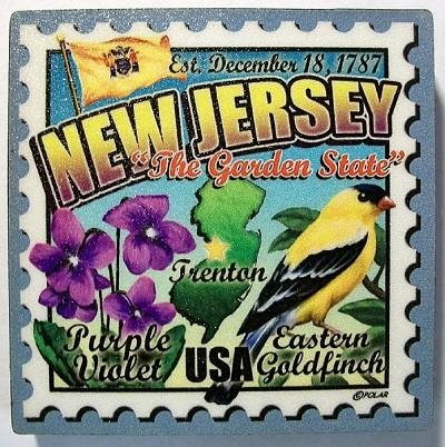 New Jersey Postage Stamp Artwood Fridge Magnet Design 28