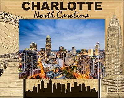 Charlotte North Carolina Laser Engraved Wood Picture Frame (5 x 7)
