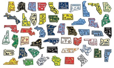 All 50 State Map Magnets Plus Puerto Rico And Washington D C