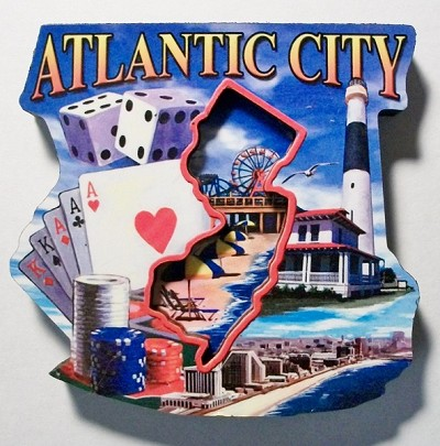 Atlantic City Montage Artwood Fridge Magnet Design 27