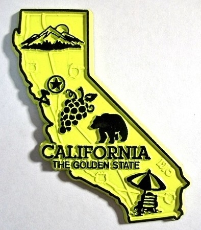 California the Golden State Map Magnet Design 2