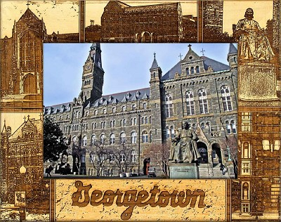 Georgetown University Laser Engraved Wood Picture Frame (5 x 7)