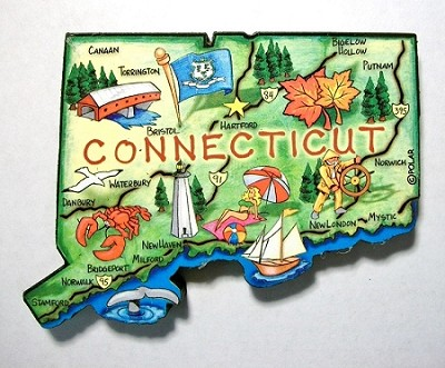 Connecticut State Outline Artwood Jumbo Fridge Magnet Design 12