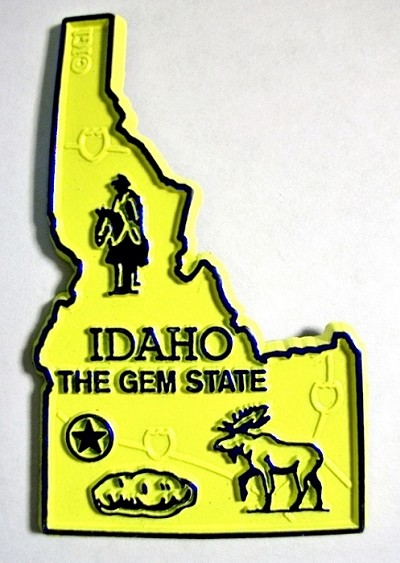 Idaho the Gem State Map Fridge Magnet Design 2