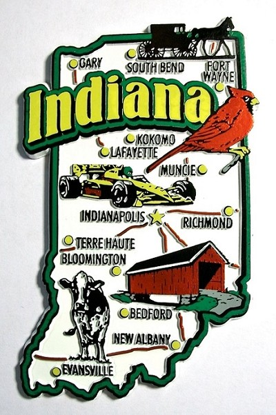Indiana Jumbo Map Fridge Magnet