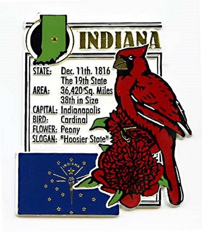 Indiana The Hoosier State Montage Fridge Magnet Design 5