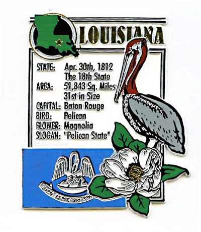 Louisiana The Pelican State Montage Fridge Magnet