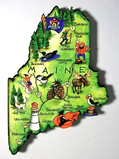 Maine State Outline Artwood Jumbo Fridge Magnet Design 12