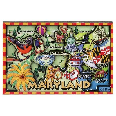 Maryland Cartoon Map Fridge Magnet