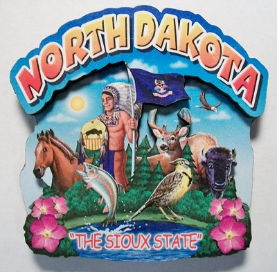 North Dakota Montage Artwood Fridge Magnet Design 16