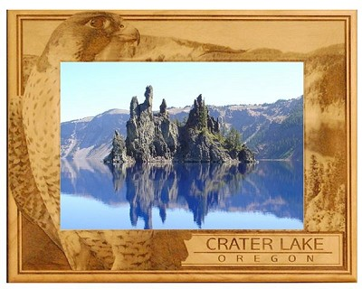 Crater Lake Oregon Engraved Wood Picture Frame (5 x 7)