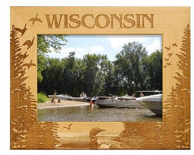 Wisconsin with Loon Laser Engraved Wood Picture Frame (5 x 7)