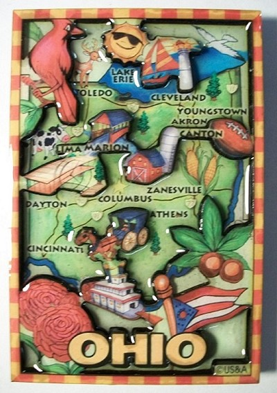 Ohio Cartoon Map Fridge Magnet Design 27