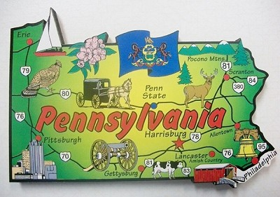 Pennsylvania State Outline Decowood Jumbo Fridge Magnet Design 10