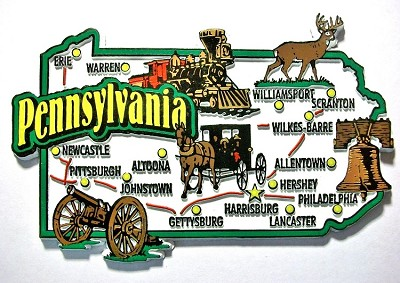 Pennsylvania Jumbo Map Fridge Magnet Design 9