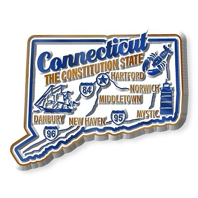 Connecticut Premium State Map Magnet Design 2