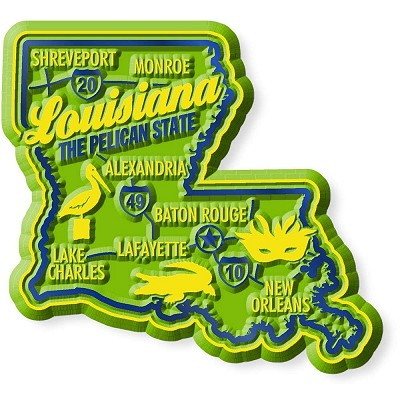 Louisiana Premium State Map Magnet