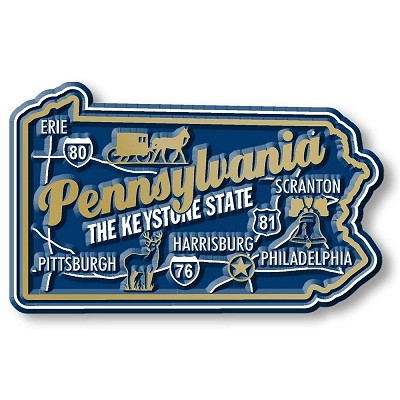 Pennsylvania Premium State Map Magnet Design 2