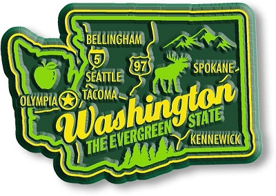 Washington Premium State Map Magnet Design 2