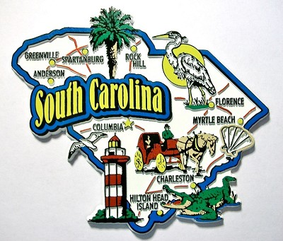 South Carolina Jumbo Map Fridge Magnet Design 9
