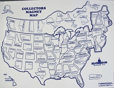 United States Magnet Collectors Static Cling Map Design 10