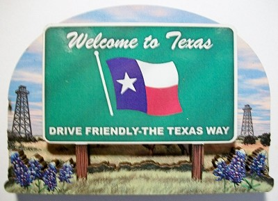 Texas State Welcome Sign Artwood Magnet Design 14