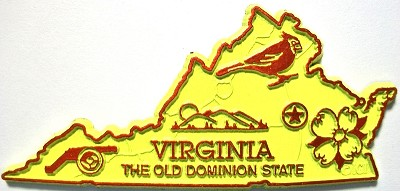 Virginia State Outline Fridge Magnet Design 2