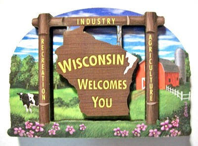 Wisconsin State Welcome Sign Artwood Magnet Design 14