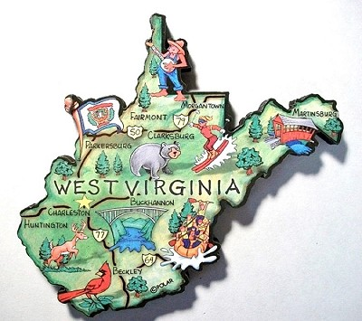 West Virginia State Outline Artwood Jumbo Fridge Magnet Design 12